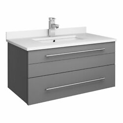Fresca Lucera 30 Solid Wood Bathroom Cabinet With Undermount Sink In Gray