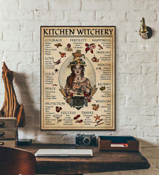 Kitchen Witchery Witches Magic Knowledge Vintage Vertical Wall Art Decor Poster