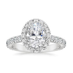 1.75 Carat Oval Cut Real Diamond Wedding Rings Solid 14k White Gold Size 6 7 8 9