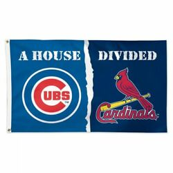 St Louis Cardinals Chicago Cubs Deluxe Flag 3 X 5 Logo House Divided