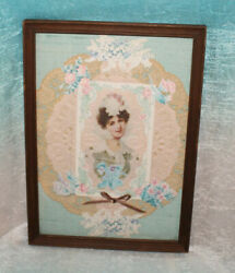 Vintage Framed Art Paper Doilies Old Cards Victorian Lady In A Bonnet Collage