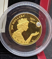 2012 The Queen's Diamond Jubilee 300 Pure Gold Coin With Canadian Diamond