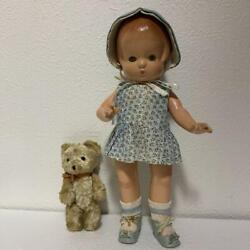 Efanby Antique Baby Composition Sleep Eye Doll With Trunk Change Clothes And Bear