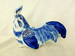 Delft Style Ceramic Rooster Blue And White French Country/cottagecore 12