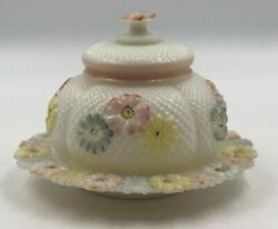 Antique Eapg Consolidated Milk Glass Cosmos Covered Butter Dish Pink Yellow Blue