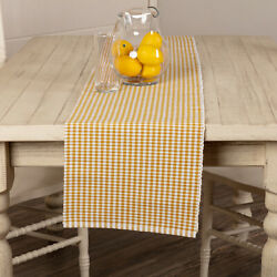 New Country Cottage Farmhouse Mustard Sunflower Gingham Checked Table Runner 72