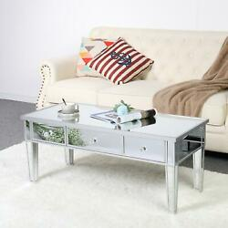 New Mirrored Glass CoffeeTable Silver Leg Finish Living Room W Drawers Table