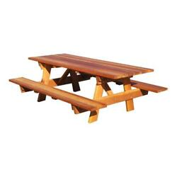Best Redwood 84 Square Corner Wood Picnic Table With Attached Bench In Natural