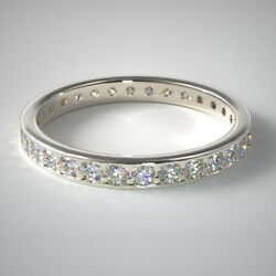 1.55 Ct Real Diamond Wedding Bands For Women 14k Solid White Gold Size 5.5 6 7 8