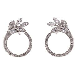 And Co. Diamond Vine Circle Platinum Earrings Victoria Collection
