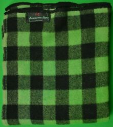 Abercrombie And Fitch C1950s Green/ Black Buffalo Plaid Wool Camp Blanket