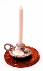 Candle In A Pewter Metal Chamberstick Holder Tumdee 112 Scale Dolls House