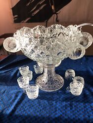 Outstanding Antique 19th Century 18 Set Large Cut Glass Punch Bowl Stand Cups