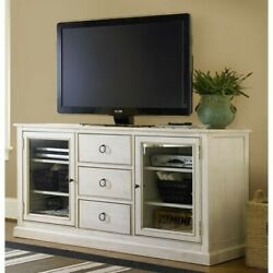 Universal Furniture Summer Hill 65and039and039 Wood Tv Stand In Cotton White