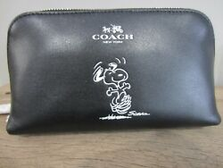New Coach Snoopy Cosmetic Black Leather Bag Pouch Multipurpose F65208 HTF $188.00