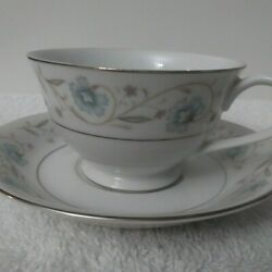 Set Of 2 Vtg Coffee Cups And Saucers Blue English Garden Fine China Platinum 1221