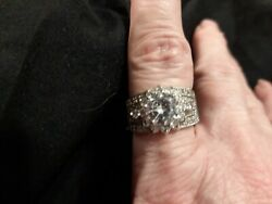 J102 Gorgeous Cocktail Ring Cz 1/2 In Wide Size 9 1/4 See Picture Marked 925