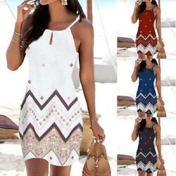 Summer Women Sexy T Shirt Floral Sleeveless Sling A Line Beach Slim Slip Dress $14.15