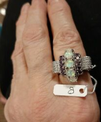 J100 Gorgeous Cocktail Ring Cz 3/4 In Wide Size 8 See Picture Marked 925