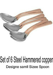 Steel Hammered Copper Design Small Size Spoon Set Of 6 Free Shipping India Made