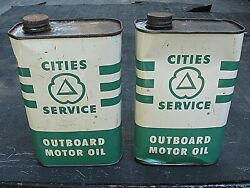 Vintage Cities Service Outboard Motor Oil Cans, 1 Qt.