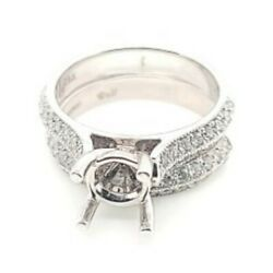 Uneek Designer Signed 1.02ctw Semi Mount And Band 14k White Gold Ring 50045617