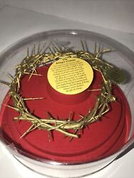 King's Crown Of Thorns Gold Tone From Israel Jesus Boxed Life-size Christianity