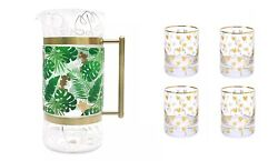 Disney Mickey Tropical Pitcher And 4 Drinking Glasses Set