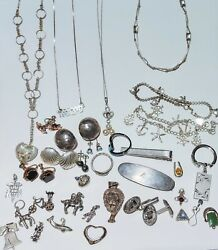 Lot Of Sterling Silver Jewelry- Resale Or Scrap- 135+ Grams- Vintage To Antique