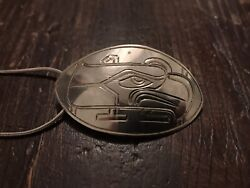 """Vintage Sterling Silver Carved Tlingit Haida Pendant And Chain """"eagle"""" Mcguire"""