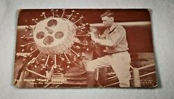 1930s Sepia Photo Exhibit Type Post Card, Charles Lindbergh Inspecting His Plane