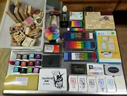 Lot Of 79 Stamping Wooden Rubber Stamps And Pads Color Box Hampton Art Stampendous
