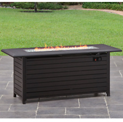 Fire Pit Table Outdoor Aluminum Firepit Gas Propane Patio Outdoor Fireplace Rect