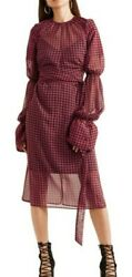 Rokh Claret Gathered Houndstooth Convertible Dress Red Black Sz Small