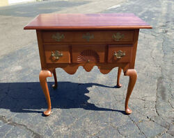 Vintage Hand Made Eldred Wheeler Cherry Lowboy In The American Queen Anne Style.