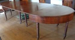 Incredible Antique Ten Leg Dining Room Table – Solid Mahogany – Spooled Legs Vgc