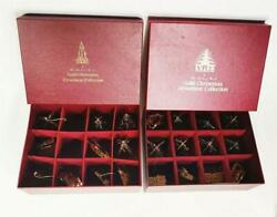 Vintage Danbury Mint Gold Plated Christmas Ornaments Collection Set Of 22 1984