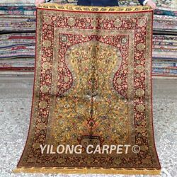 Yilong 3and039x5and039 Handmade Silk Carpet Gold Vase Pattern Vintage Home Rug Mc341b