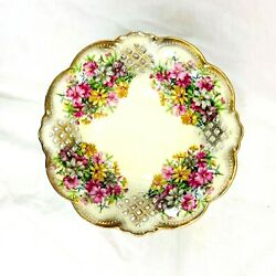 Vintage Lefton China Candy Dish Pedestal Waffle Cut Hand Painted 1083 Gold Trim