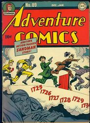 Adventure Comics 89 1943/44 Classic Sandman Cover Signed By Jack Kirby Vg-fn