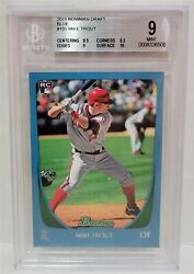 2011 Bowman Draft Blue Mike Trout /499 Rc 101 - Bgs 9 Mint Angels Rookie