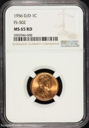 1956-d/d Rpm Fs-502 Lincoln Wheat Penny Cent Ngc Ms65 Rd Red 946-008