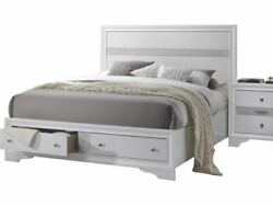 Sleek Style White Color Queen Size Contemporary Bed 4pc Bedroom Furniture Set