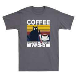 Black Cat With Knife Coffee Because Murder Is Wrong Funny Vintage Menand039s T-shirt
