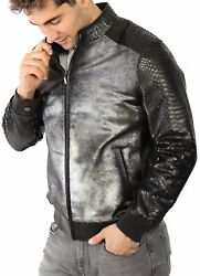 Vogg Menand039s Silver And Black Calf Hair Leather And Python Skin Jacket Id1018