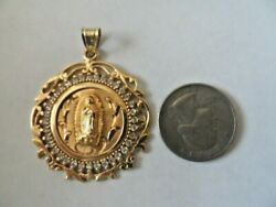 Vintage Solid 14k Yellow Gold Round Pendant Mary Almost 2 Long