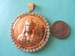 Vintage Solid 14k Yellow Gold Two Sided Reversible Pendant Jesus Mary