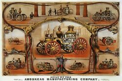 Old Fire Engine Horse Drawn Firefighting Apparatus Vintage Poster Repro Free S/h