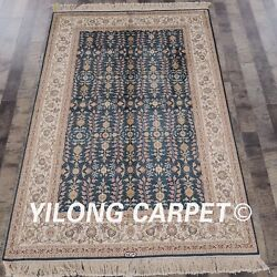 Yilong 4and039x6and039 Handknotted Silk Area Rug Family Room All-over Blue Carpet 867b
