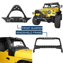 Windshield Frame Cover Armour + Front Bumper Fit Jeep Wrangler Tj 97-06 Textured